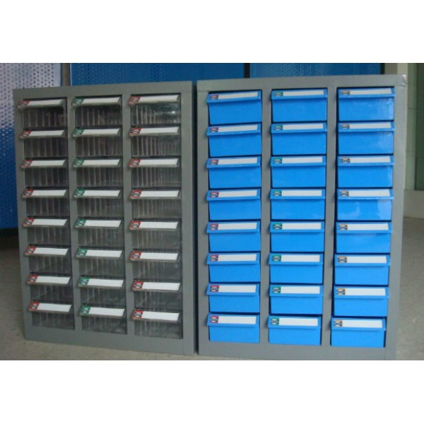 Drawer parts cabinet with multi-functional drawers